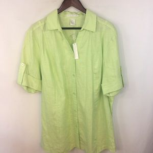 Sarah Spencer Top Linen Women 18W Button Down  S/S